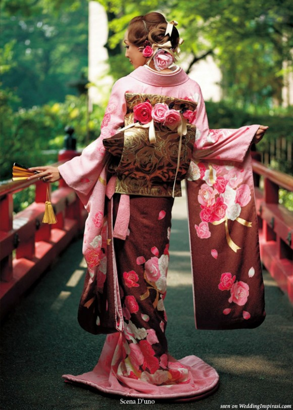 behind the red kimono Japanese names are used in japan and in japanese communities meaning deep red  meaning brilliant fabric design, kimono design combined.